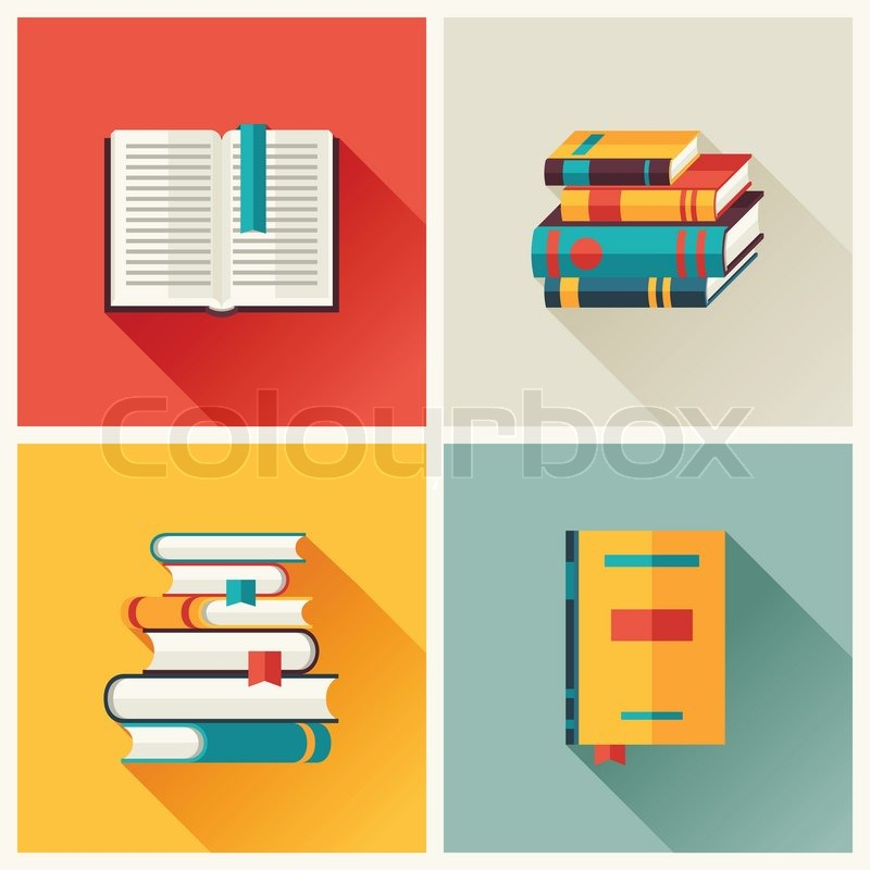 Set Of Book Icons In Flat Design Style Stock Vector