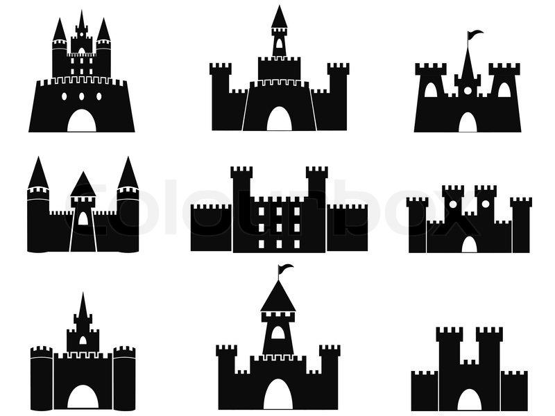 isolated black castle icons from white background stock vector rh colourbox com castle victoria castle victorian nebraska