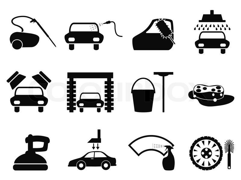 Car Wash Iconssigns Set Of Cleaning Car Vector Graphic Stock