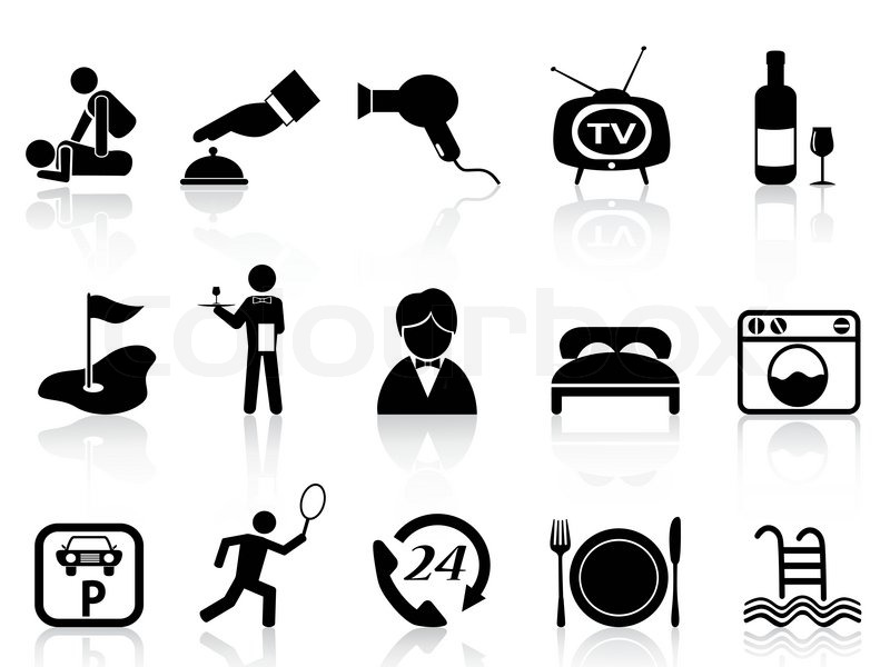 Isolated Black Hotel Service Icons Set From White
