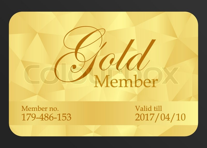 golden member card with registration