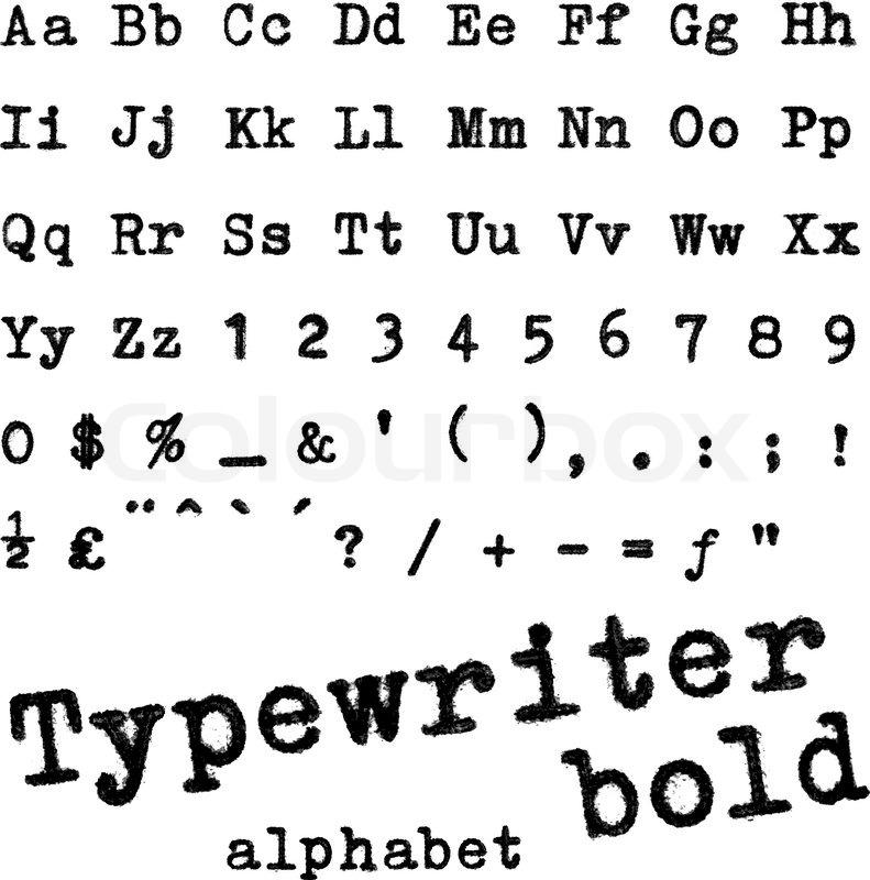Typewriter Bold Alphabet Macro Photograph Of Letters Isolated On White