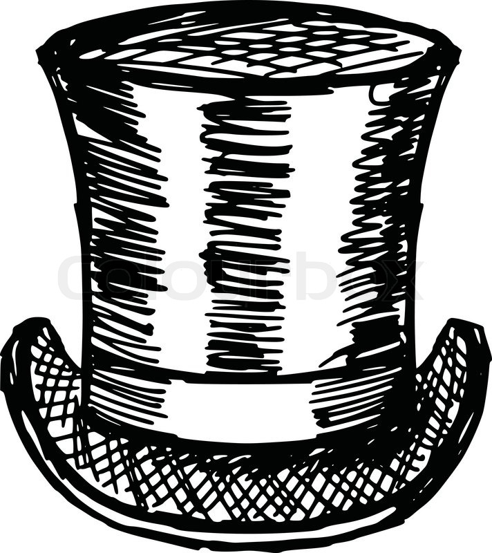 Line Drawing Hat : Sketch doodle hand drawn illustration of top hat stock