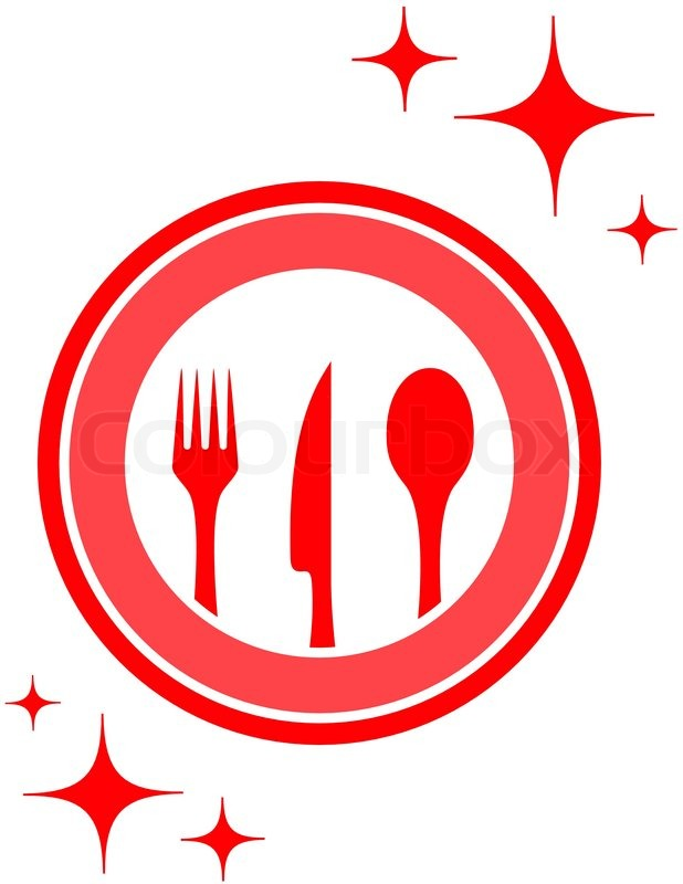 Red Isolated Restaurant Icon With Stock Vector