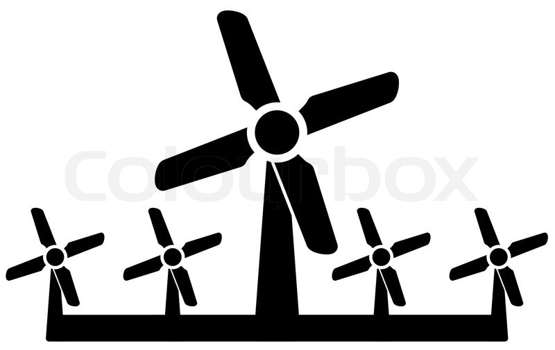 Isolated Black Wind Mill Icon Wind Power Symbol Stock