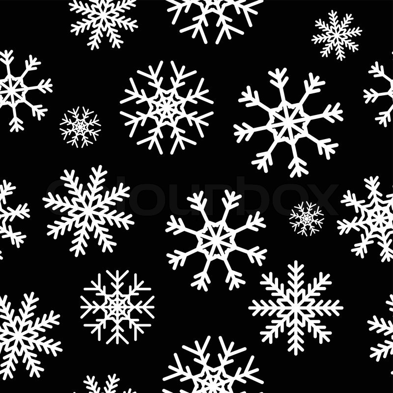 white snowflakes on black background seamless pattern for