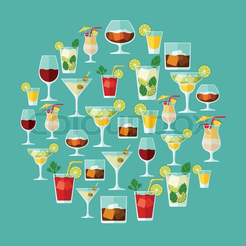 Alkoholische Getränke und Cocktails für Menü oder Wein-Liste ...