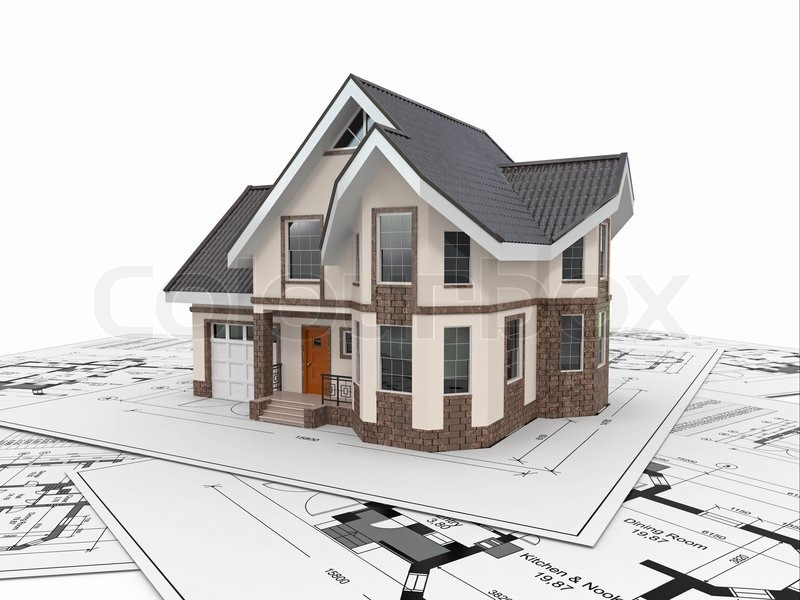 Residential house on architect blueprints Housing project 3d