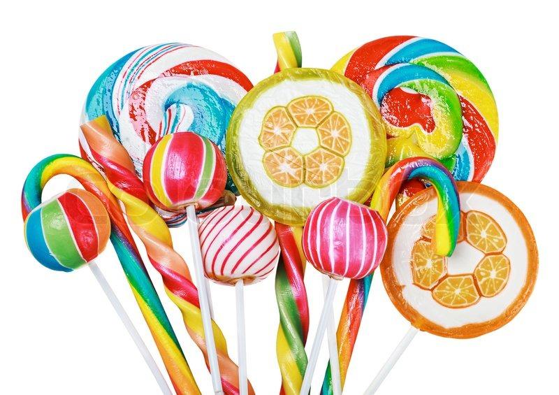 Bunte Bonbons Und Lutscher Isoliert Stockfoto Colourbox