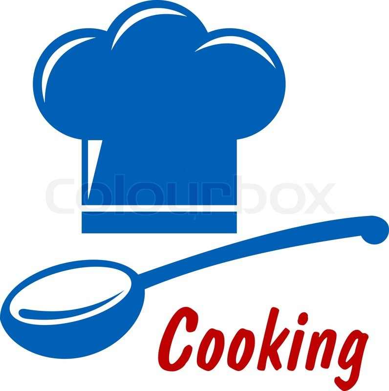 Cooking Icon Or Symbol With Chef Hat Serving Spoon And Text