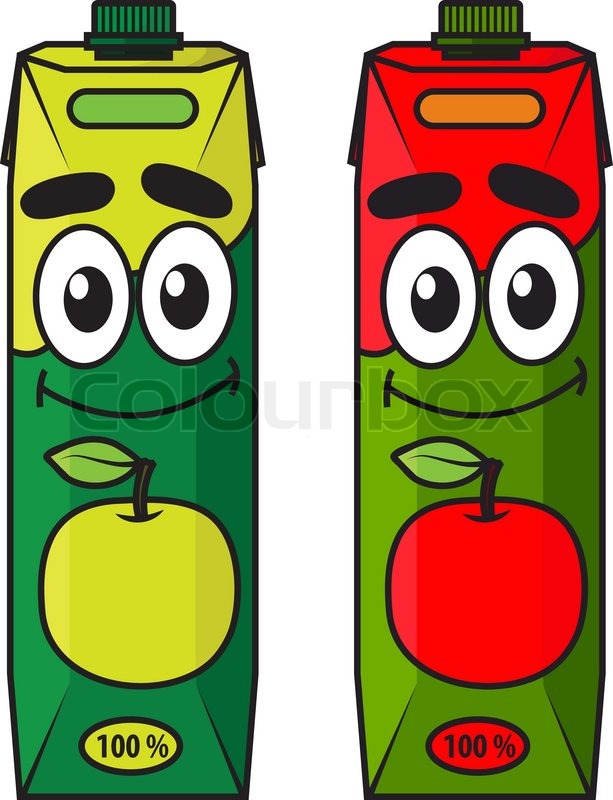 Juice Cartoon Cartoon Apple Juice Package in Red And Green Isolated on White Colored