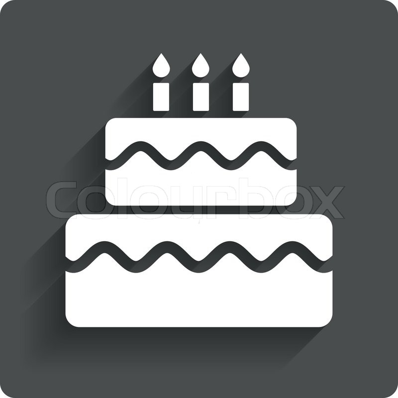 Birthday cake sign icon. Cake with burning candles symbol ...