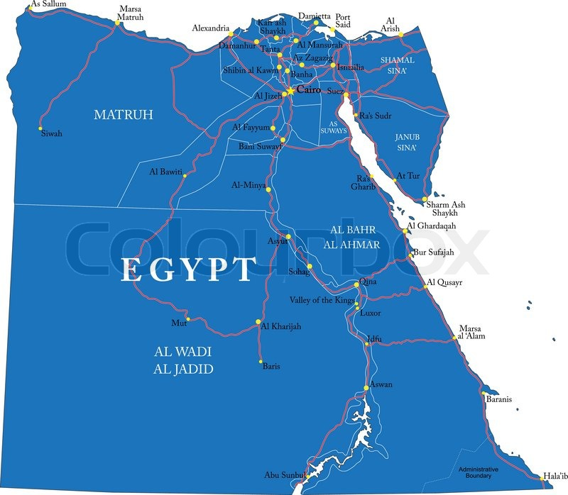 Highly Detailed Vector Map Of Egypt With Administrative Regions - Map of egypt vector