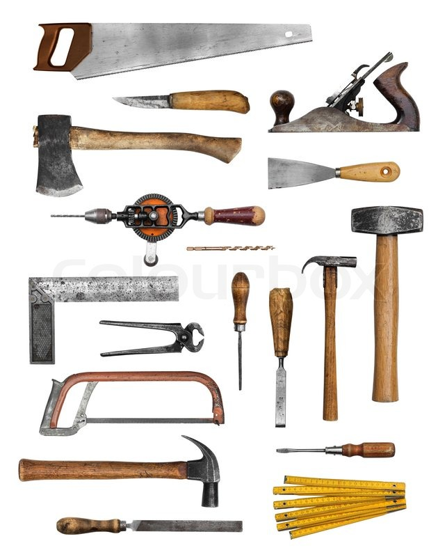 Old carpenter hand tools set collection isolated on white ...
