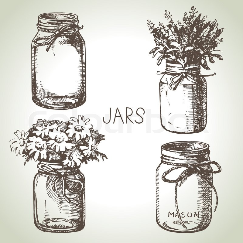 rustic  mason and canning jars hand drawn set sketch design elements vector illustrations Old Film Cameras Clip Art Old Camera Clip Art
