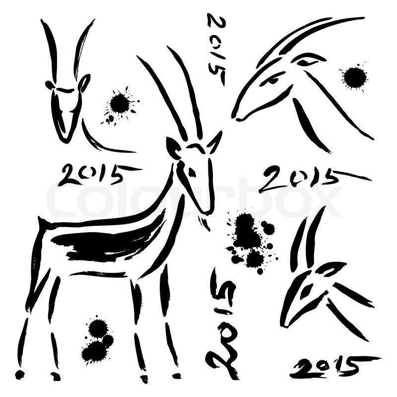 goat 2015 new year symbol set chinese zodiac hand drawn