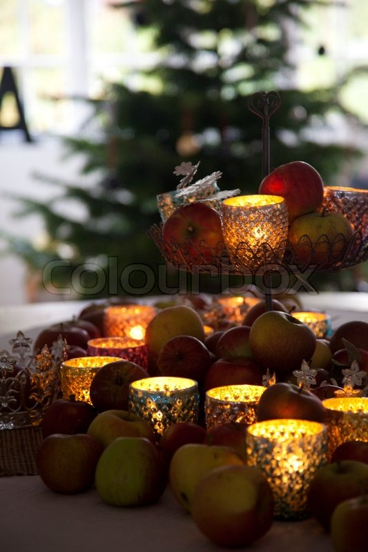 Stock image of 'Candlelight Christmas decoration at home'
