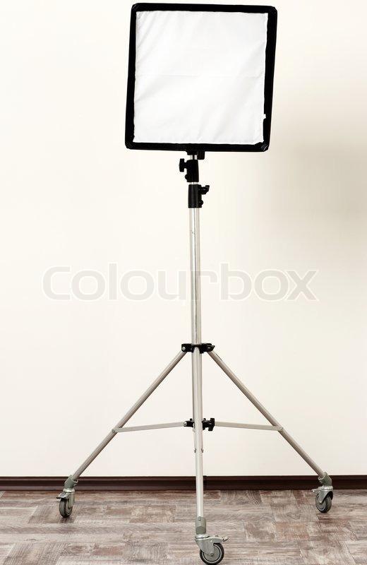 Studio flash with soft-box, stock photo