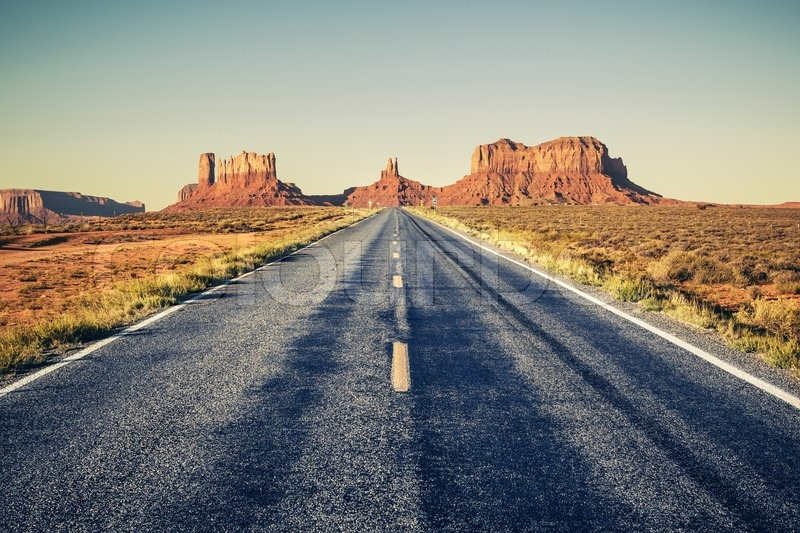 Long road to Monument Valley, USA , stock photo