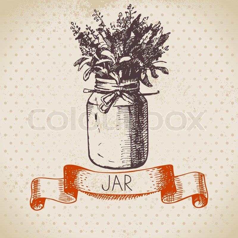 Rustic Jar With Lavender Bouquet Vintage Hand Drawn