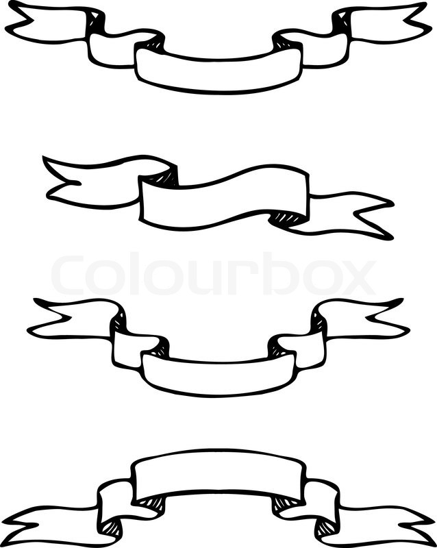 set of hand drawn vector scroll banners black and white stock rh colourbox com vector scroll art vector scroll art