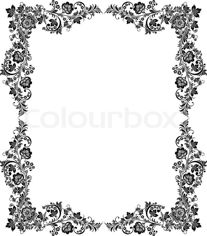 Vector black and white vintage floral frame | Stock Vector | Colourbox
