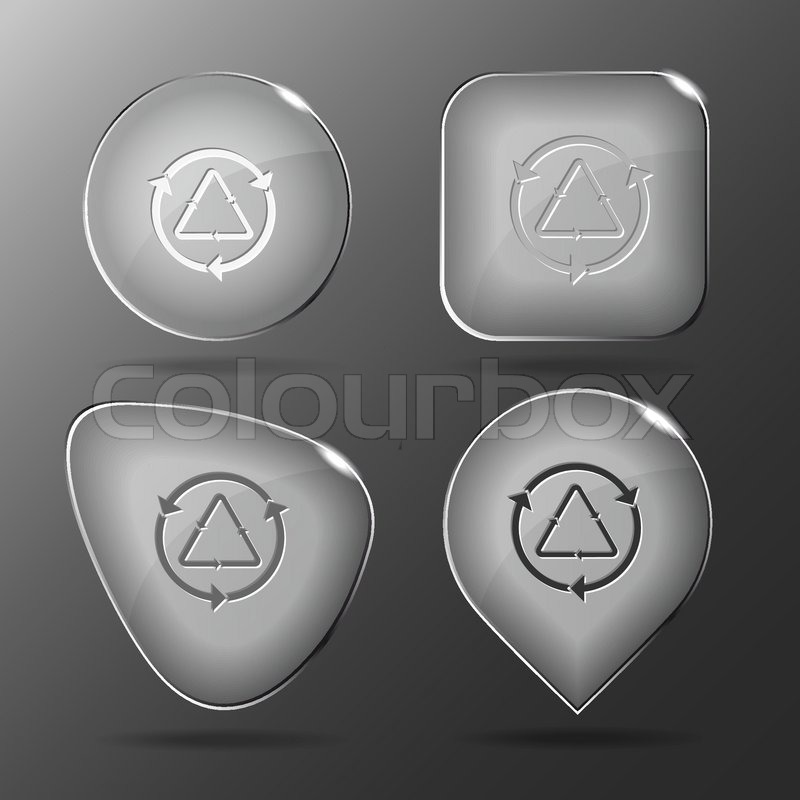 Recycle Glass Symbol Recycle Symbol Glass Buttons