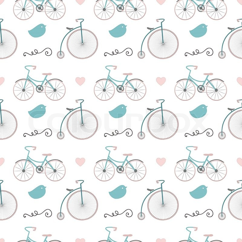 Colourful Vintage Seamless Background Pattern With Cute Retro Hipster Doodle Icons Lovely Bicycles