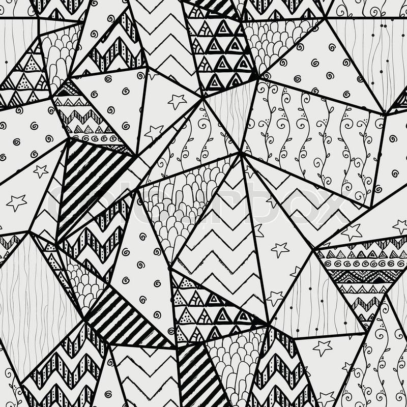 black and white geometric handdrawn abstract seamless