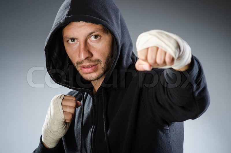Martial arts fighter at the training, stock photo