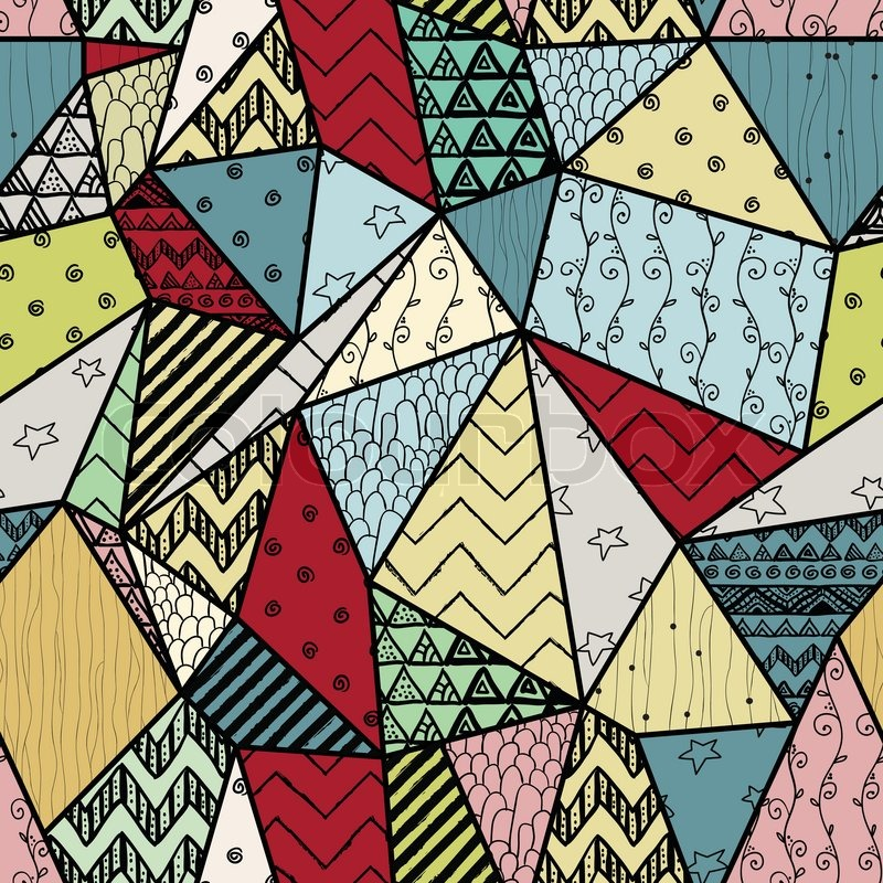 Geometric Handdrawn Abstract Seamless Background Pattern With Interesting Cute Patterns