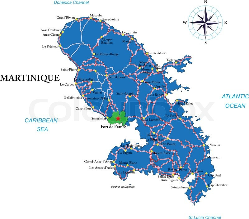 Highly detailed vector map of Martinique with administrative regions