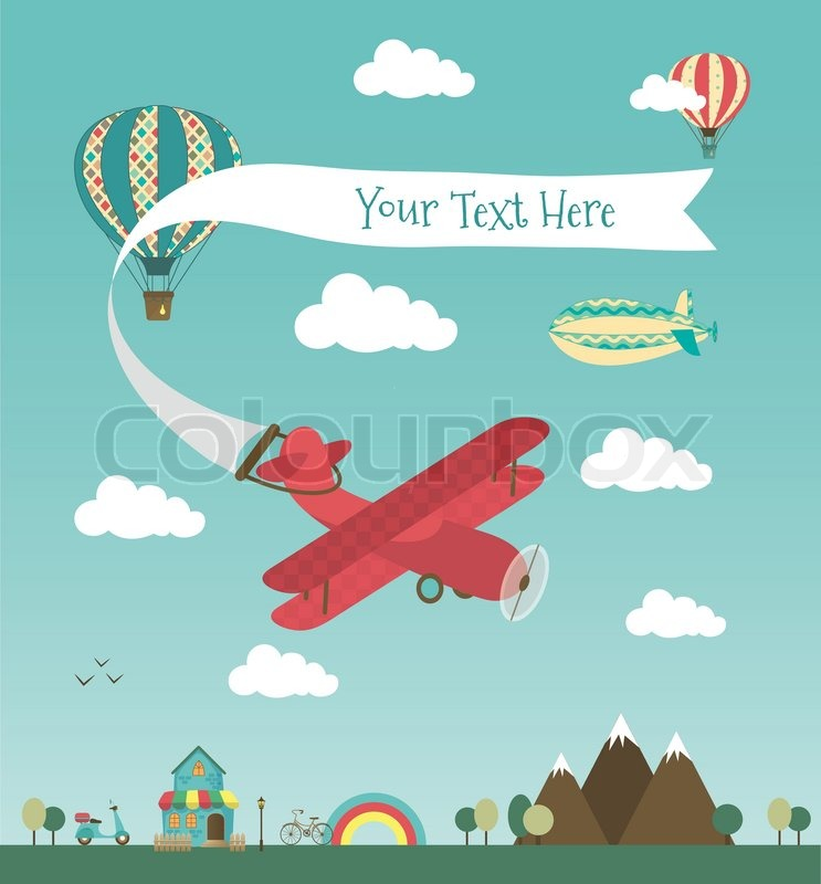 Retro Air Plane Banner Design With Vintage Airships Like Aerostat And Balloon Vector Illustration Mini Town Cute House Bikes