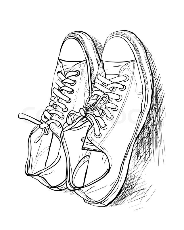 Contour Line Drawing Shoes Lesson Plan : Hand drawing a pair of casual shoes vector stock