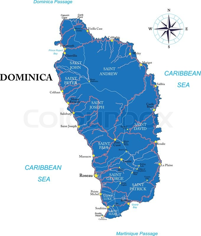 Highly detailed vector map of Dominica with administrative regions