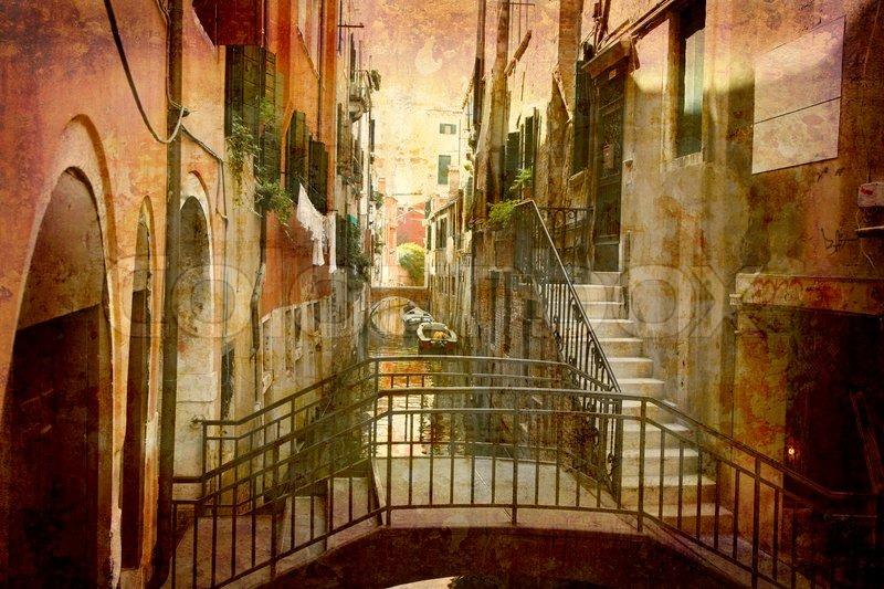 k nstlerische arbeit meine eigene im retro stil postkarte aus italien stadt venedig. Black Bedroom Furniture Sets. Home Design Ideas