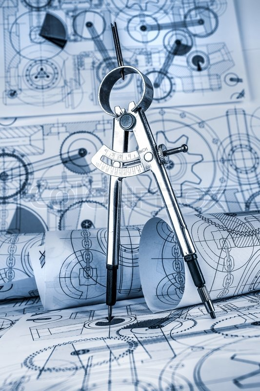 Technical drawings in a blue toning, stock photo
