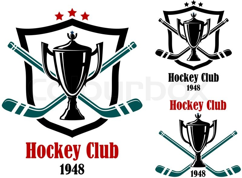 Ice Hockey Symbols And Emblems With Trophy Prize Cup Stars Stick