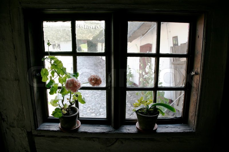 Looking Out Of The Window In An Very Old Danish Farm House. The Funen  Village, Odense. | Stock Photo | Colourbox
