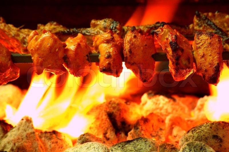 Chicken Tikka Kebab Over Coal Bbq, Stock Photo