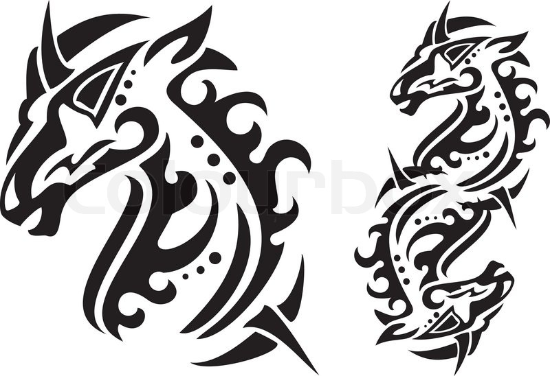 Tribal Horse Head And Double Horse Symbol Ready For A Tattoo Or