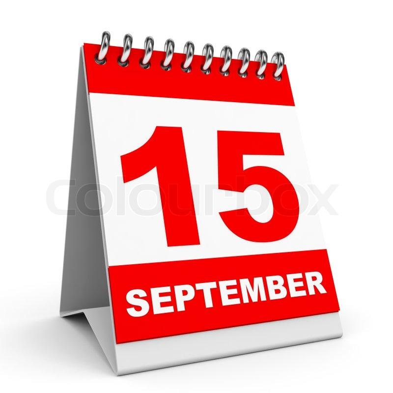 Calendar On White Background 15 September 3d
