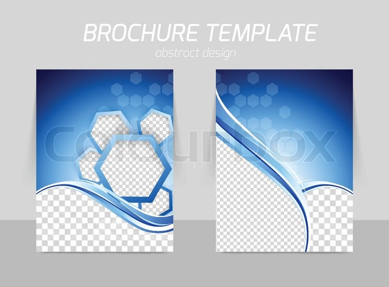 hexagons with wave back and front flyer template design stock