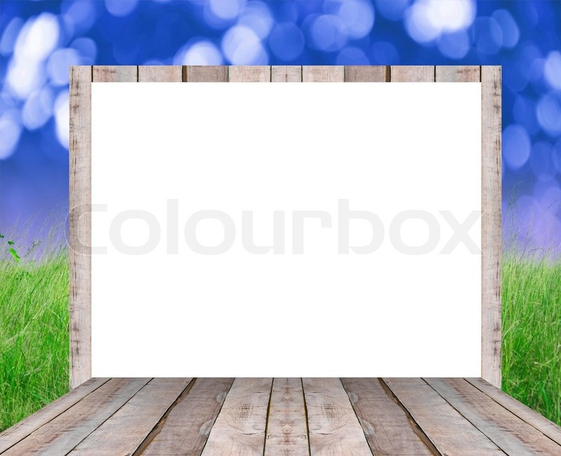 Blank wood billboard for new advertisement on nature background, stock photo