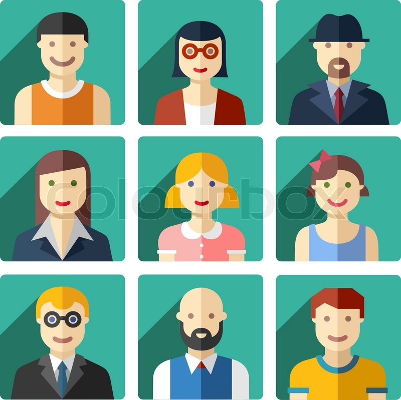 vector flat avatar icons faces people icons stock vector colourbox rh colourbox com vector facebook logo download vector face skeleton free peek