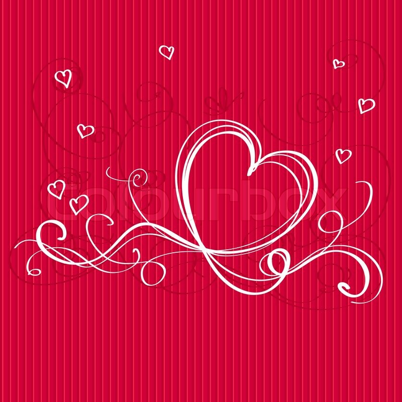 Roter Hintergrund Mit Herz Weiß Band. Valentinstagskarte Gestalten Mit  Leeren Platz Für Gratulation Oder Einladung Text | Vektorgrafik | Colourbox