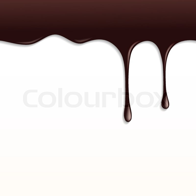 melted dark chocolate dripping on white background stock