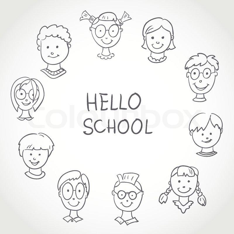 kids face set sketch stock vector colourbox - Sketch Images For Kids