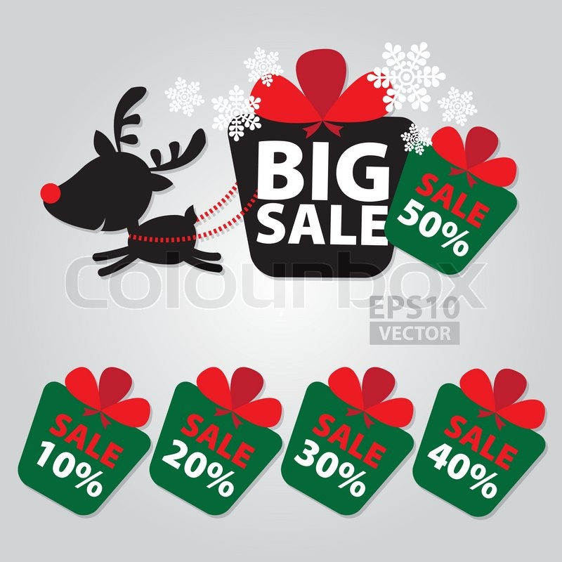 Big sale new year and christmas reindeer sticker tags with sale 10 50 percent text on colorful gift box sticker tags stock vector colourbox