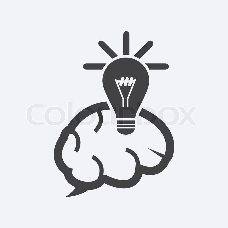 Glühbirne und Gehirn-Symbol | Vektorgrafik | Colourbox